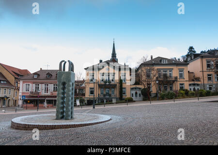 Badenweiler, Germany - December 24, 2017: Street atmosphere in the city center of the empty city in winter - Stock Photo