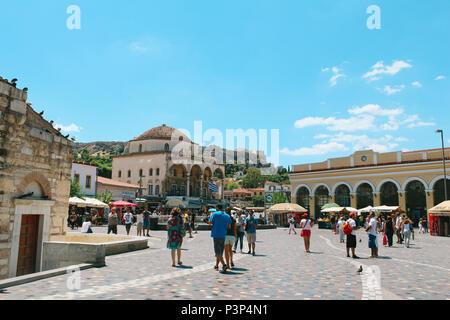 Athens, Greece - July 23, 2013 : Monastiraki square with tourist people - Stock Photo
