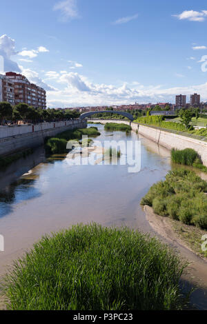 Madrid, Spain: View of the Manzanares River separating the Arganzuela and Carabanchel districts. - Stock Photo