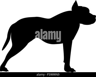 Pit bull terrier icon black color vector I flat style simple image - Stock Photo