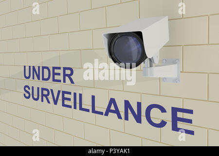 3D illustration of UNDER SURVEILLANCE title under security camera which is mounted on brick wall - Stock Photo
