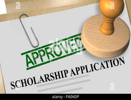 3D illustration of APPROVED stamp title on scholarship application document - Stock Photo