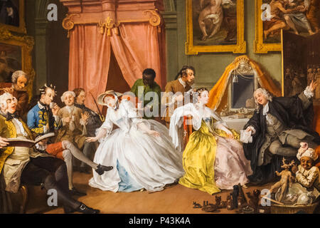 Painting from The Marriage A-la-Mode Series titled 'The Toilette' by William Hogarth dated 1743 - Stock Photo