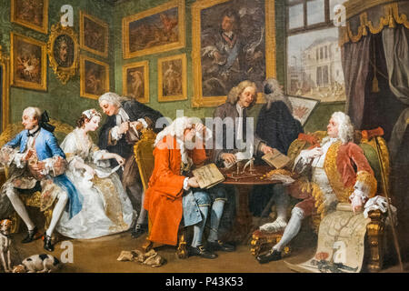 Painting from The Marriage A-la-Mode Series titled 'The Marriage Settlement' by William Hogarth dated 1743 - Stock Photo