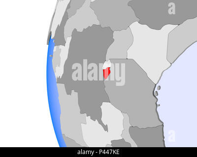 Burundi in red on political globe with transparent oceans. 3D illustration. - Stock Photo