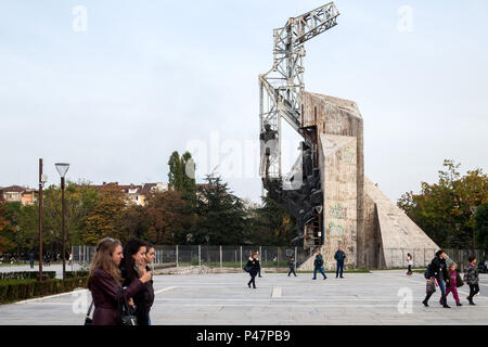 Sofia, Bulgaria, monument at the National Palace of Culture NDK - Stock Photo