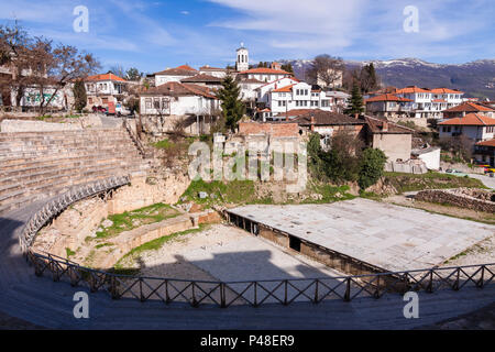 Ohrid, Republic of Macedonia : Ancient Theatre of Ohrid built in 200 BC in the Unesco listed old town of Ohrid. - Stock Photo