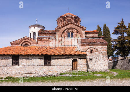 Ohrid, Republic of Macedonia : Holy Mother of God Peribleptos (1295),  one of the oldest churches in the Unesco listed old town of Ohrid - Stock Photo