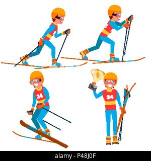 Skiing Young Man Player Vector. Man. Ski Resort. Skiing In The Mountains. Flat Athlete Cartoon Illustration - Stock Photo