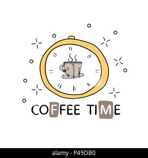 Vector poster with phrase decor elements. Typography card, image with lettering. Design for t-shirt and prints. coffee time. - Stock Photo