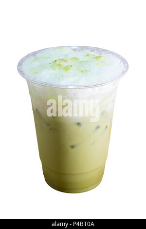 Green tea iced frappe in takeaway cup on white background. - Stock Photo