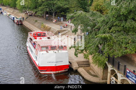 York, England, UK - August 05,  2011: The ferry boat Captain James Cook about to leave Lendal Bridge landing at the side of the river Ouse in City of  - Stock Photo