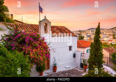 Church in Anafiotika neighborhood in the old town of Athens, Greece. - Stock Photo