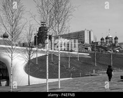 Zaryadye Park, black and white photography, Moscow - Stock Photo