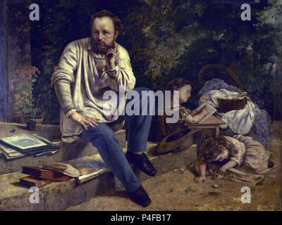 French school. Proudhon and his Children. Proudhon et ses enfants. 1853-1865. Paris, musée du Petit Palais. Author: Gustave Courbet (1819-1877). Location: MUSEO PETIT PALAIS, FRANCE. - Stock Photo