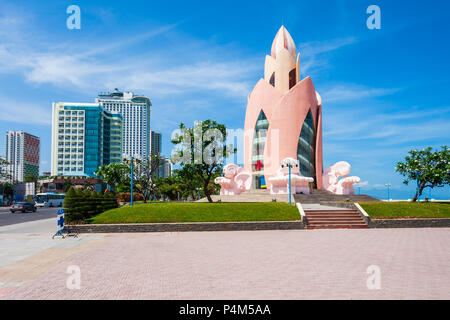 NHA TRANG, VIETNAM - MARCH 14, 2018: Lotus Tower or Thap Tram Huong in the center of Nha Trang city in south Vietnam - Stock Photo