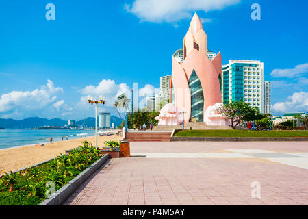 NHA TRANG, VIETNAM - MARCH 16, 2018: Lotus Tower or Thap Tram Huong in the center of Nha Trang city in south Vietnam - Stock Photo