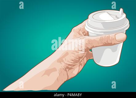 Hand drawn sketch of a hand holding paper cup of coffee - Stock Photo