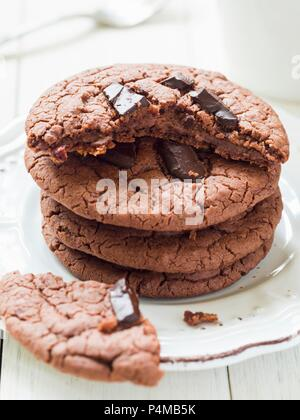 A stack of vegan flourless gluten-free chocolate cookies - Stock Photo