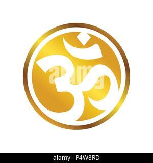 Golden OM Circular Vector Symbol Graphic Logo Design - Stock Photo