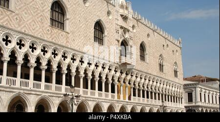Italy. Venice. Doge's Palace. Gothic building. 14th - 15th centuries. Facade. - Stock Photo