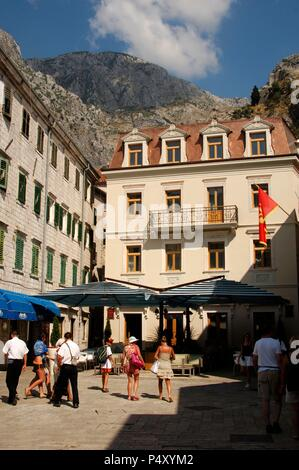 REPUBLIC OF MONTENEGRO. KOTOR. Revolucije Oktobarske Square. - Stock Photo