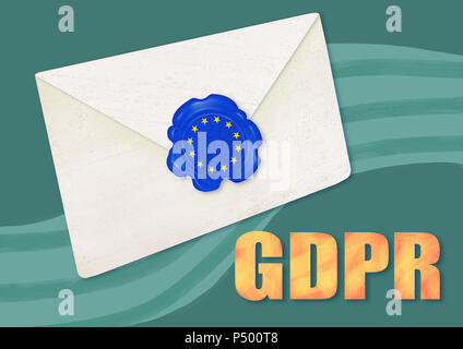 GDPR concept illustration. Sealed letter with the European stars on the seal and General Data Protection Regulation abbreviation on green background a - Stock Photo