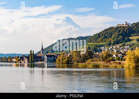 Switzerland, Canton of Schaffhausen, Stein am Rhein, Rhine river, cityscape with Hohenklingen Castle - Stock Photo
