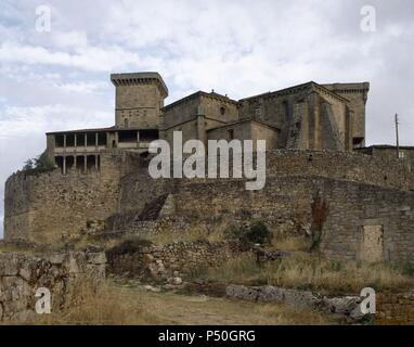Spain. Galicia. Monterrey Castle. Middle Ages. Overview with the Tower of the Ladies, 14th century, at background. - Stock Photo