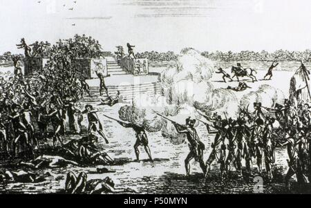 French Revolution (1789-1799). Champ de Mars Massacre (July 17, 1791). Anonymous etching of the time. - Stock Photo