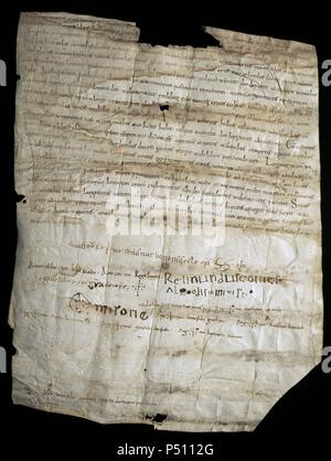Ramon Berenguer I the Old (1023-1076). Count of Barcelona. Document with the donation of the Counts of Barcelona to the cathedral chapter. Original parchment of 1055. Files to the Cathedral of Barcelona. Spain. - Stock Photo