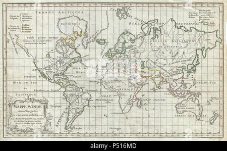 1784 Vaugondy Map of the World on Mercator Projection - Geographicus - World-vaugondy-1784. - Stock Photo