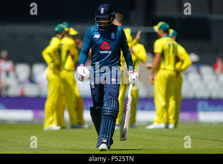 Manchester, UK. 24th June, 2018. Sunday 24th June 2018 , Emirates Old Trafford, 5th ODI Royal London One-Day Series England v Australia; Joe Root  of England leaves the field of play after been dismissed by Australia. Credit: News Images /Alamy Live News - Stock Photo
