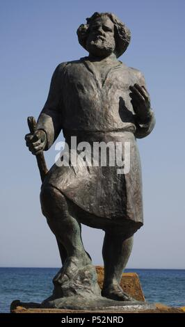 Ukraine. Autonomous Republic of Crimea. Koktebel. Maximilian Voloshin (1877-1932). Russian poet. Statue. - Stock Photo