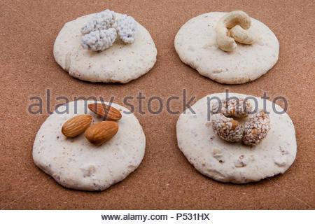 nut cookies studio wooden background - Stock Photo