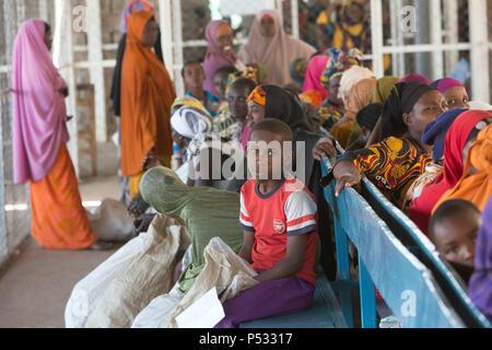 Kakuma, Kenya - Food issue of the humanitarian aid organization World Food Program in the Kakuma refugee camp. - Stock Photo