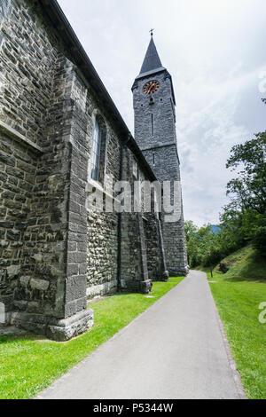 historic church in the village of Balzers in Liechtenstein - Stock Photo