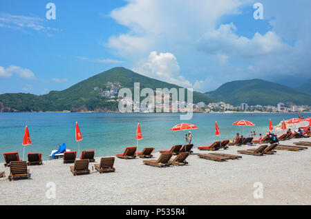 Beach on Sveti Nikola Island (known as 'Hawaii' or 'Školj'), Budva, Montenegro, Adriatic Coast, Balkans, May 2018 - Stock Photo
