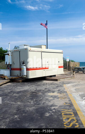 food wagon in parking lot Ditch Plains Beach Montauk New York The Hamptons - Stock Photo