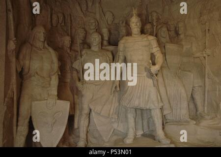 George Kastrioti Skanderbeg (1405-1468). Albania's most important national hero and a key figure of the Albanian National Awakening. Sculptural group. National Skanderbeg Museum. Kruje. Albania. - Stock Photo