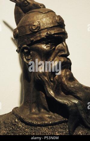 George Kastrioti Skanderbeg (1405-1468). Albania's most important national hero and a key figure of the Albanian National Awakening. Bust. Albania. Kruje.  National Skanderbeg Museum. Kruje. Albania. - Stock Photo