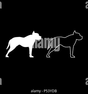 Pit bull terrier icon set white color vector I flat style simple image - Stock Photo