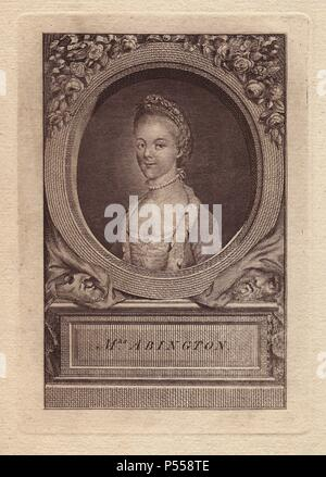 Mrs. Frances Abington (1737-1815), English actress who performed at Drury Lane and Covent Garden. Portrait within an oval border, with plinth below. - Stock Photo
