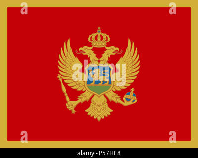 Official national flag of Montenegro - Stock Photo
