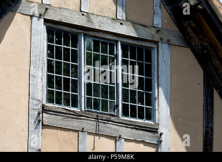 A leaded window in Hall`s Croft building, Stratford-upon-Avon, Warwickshire, UK - Stock Photo