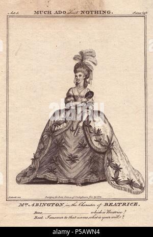 Frances Abington as Beatrice in 'Much Ado About Nothing.'. . Abington played Beatrice for the first time in 1775 opposite David Garrick at Drury Lane to 'very great applause.'. . Copperplate engraving from 'Bell's Shakespeare' published by John Bell, London, from 1776. Drawn by James Roberts. - Stock Photo