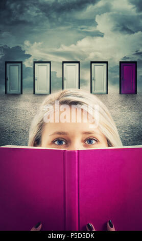 Young woman holding a purple book, in front of many doors choosing a different one to open. Reading is the key success. Difficult decision, important  - Stock Photo
