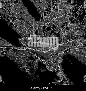Area map of Monterrey, Mexico. Dark background version for infographic and marketing projects. This map of Monterrey, Monterrey Municipality, contains - Stock Photo