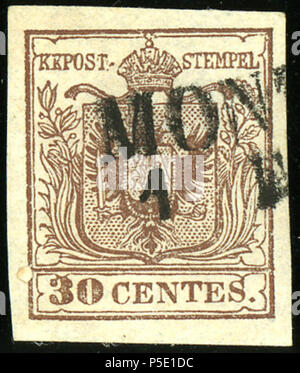 N/A. English: Austrian KK stamp in Lombardy province, 30 centes issue 1850, Handpaper type I, cancelled at Monza. 21 February 2013, 13:30:49. Post of the Austrian Empire 29 1850 30centes Monza - Stock Photo