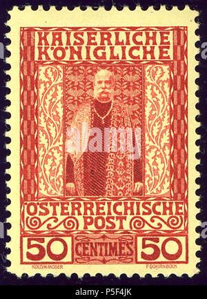 N/A. English: 50 centimes 1908 Jubilee issue for use in Levant. Yellow paper. Unused Michel N°21. July 1908 (scan 2015-03-05).   Koloman Moser  (1868–1918)     Alternative names Kolo Moser  Description Austrian painter, designer, architect and postage stamp designer  Date of birth/death 30 March 1868 19 October 1918  Location of birth/death Vienna Vienna  Work location Vienna  Authority control  : Q45055 VIAF:37018321 ISNI:0000 0001 2100 6848 ULAN:500030689 LCCN:n82047170 NLA:35692558 WorldCat 32 1908 KK Levant 50centimes Mi21 - Stock Photo
